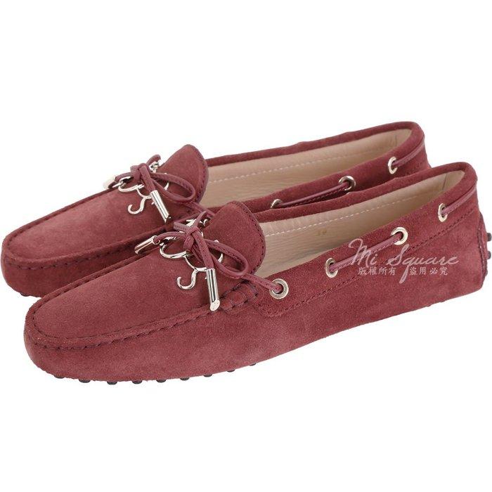 米蘭廣場 TOD'S Gommino 新版字母麂皮休閒豆豆鞋(女鞋/紅梨色) 1830498-A8