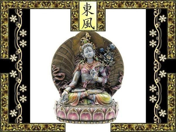 [ Vero 設計 手工彩繪 佛像系列-密宗 白度母 ]-三蓮花-神像 雕像. 高 15.5 cm.$2080