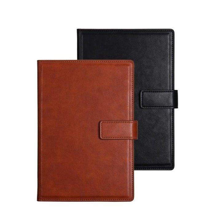 商務筆記本文具a5本子日記本簡約皮面帶扣記事本禮盒大號會議記錄本