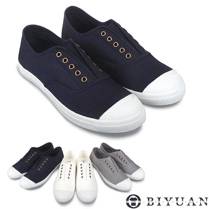 【OBIYUAN】MIT手工休閒鞋 素面簡約 經典百搭 懶人鞋 共3色 【Q2A43】