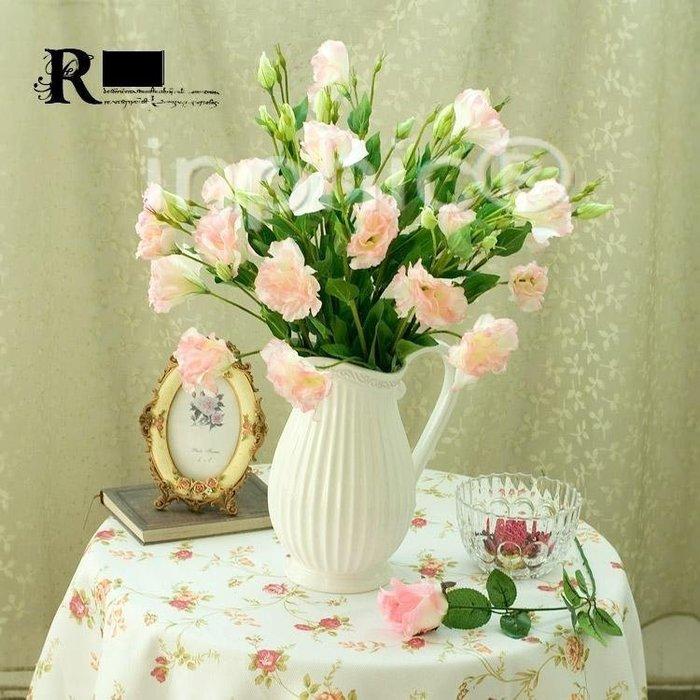INPHIC-歐式田園 5枝粉色桔梗花地中海浮雕小奶壺 仿真花藝套裝