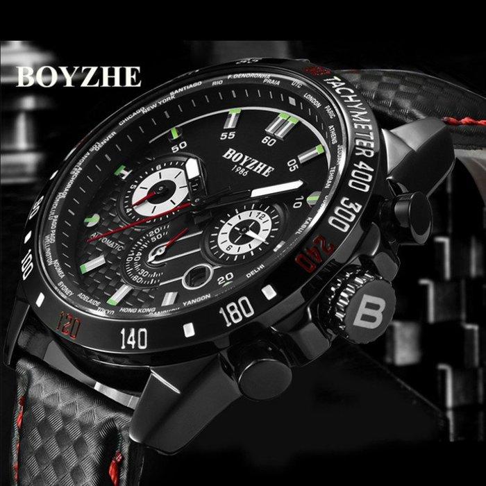 潮流時尚運動軍風雜誌款 真三眼大錶盤 日期 夜光刻度指針 全自動機機械錶 鏤空底蓋卡夢碳纖維車線皮帶男腕錶