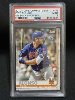 2019 Topps Pete Alonso #475 No Sock Showing PSA Mint 9 RC新人卡
