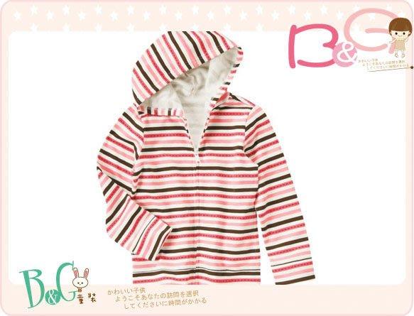 【B& G童裝】正品美國進口Crazy8 Stripe Hoodie粉色條紋色內軟刷毛長袖連帽外套S號4-6y