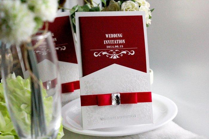 『潘朵菈精緻婚卡』影像設計喜帖 ♥ 璀璨緞帶18元喜帖系列 ♥ 喜帖編號:W-10071‧紅