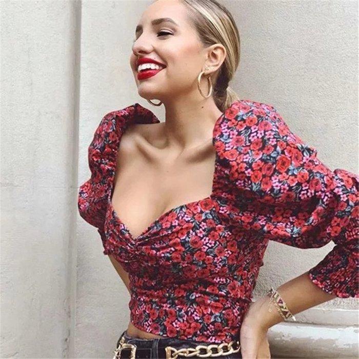 ??INS博主街拍復古熱情拉丁性感玫瑰印花皺褶鬆緊心型領低胸長袖襯衫