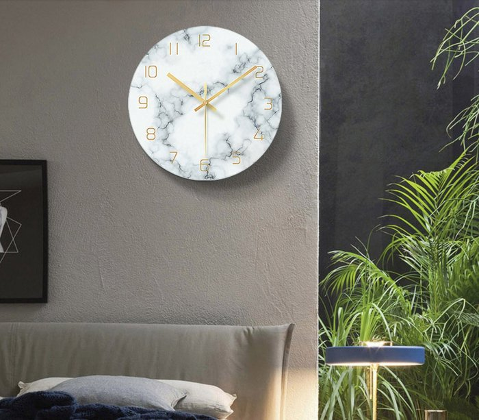 北歐風 創意靜音大理石掛鐘 時鐘 強化玻璃 牆面裝飾 黑白大理石紋 幾何 銀河 唱片 |悠飾生活|