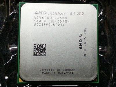 【含稅】AMD Athlon 64 X2 6000+ 3.1G ADV6000IAA5DO 89W 雙核CPU一年保