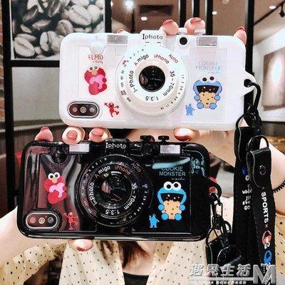 iPhonex蘋果x手機殼8plus新款卡通7plus掛繩相機支架6splus全包防摔    全館免運