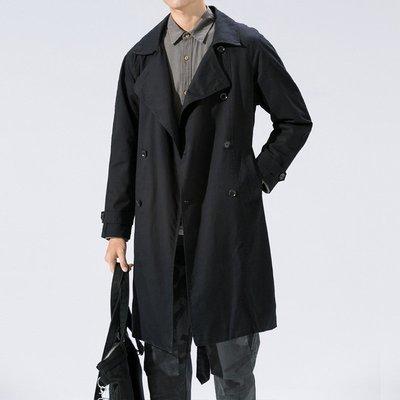 男雙排釦風衣西裝外套春秋男裝大碼雙排扣純色休閑長款翻領風衣外套FY1802
