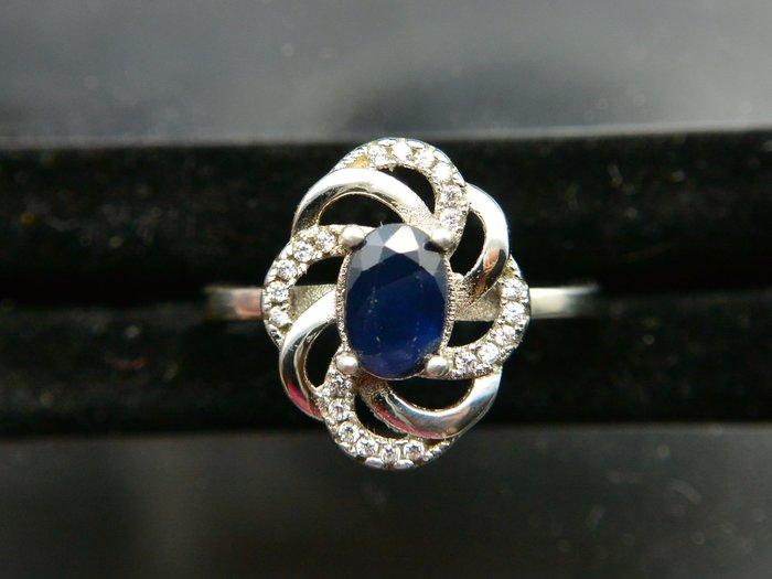 天然藍寶石Sapphire  幾合設計款 橢圓形戒 戒子 戒指 #14