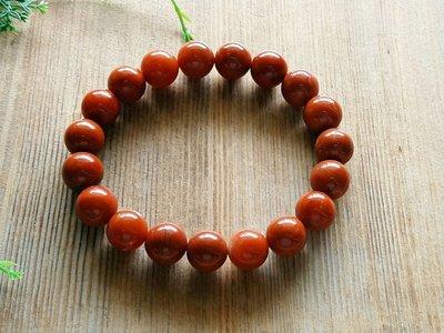 簡單Simple。現貨。1085號天然四川涼山料南紅瑪瑙 柿子紅圓珠手珠手鍊。11MM