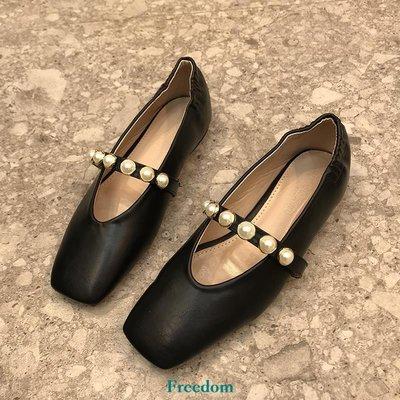 Freedom女鞋方根單鞋2019春新款韓國女鞋方頭淺口珍珠鉚釘皮帶扣平底瑪麗珍鞋