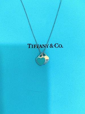 TIFFANY & Co藍琺瑯雙心形鍊墜 項鍊