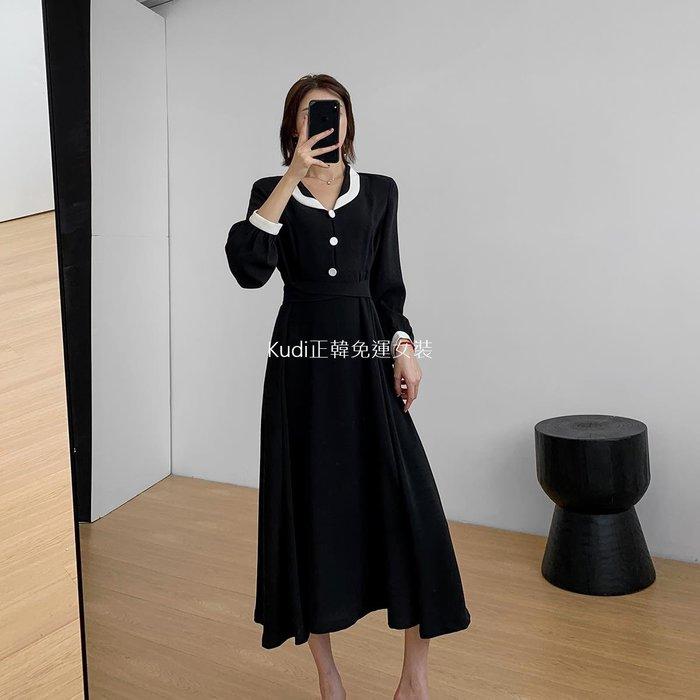 Kudi正韓免運女裝果哥訂製2020春裝新款收腰黑色連身裙女中長款復古氣質長袖娃娃領