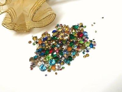 彩色玻璃尖底鑽1-7mm(10克25元)水晶-補鑽-玻璃鑽-平底鑽-貼鑽-水鑽--指甲貼-手機-美甲12牛手創 高雄市