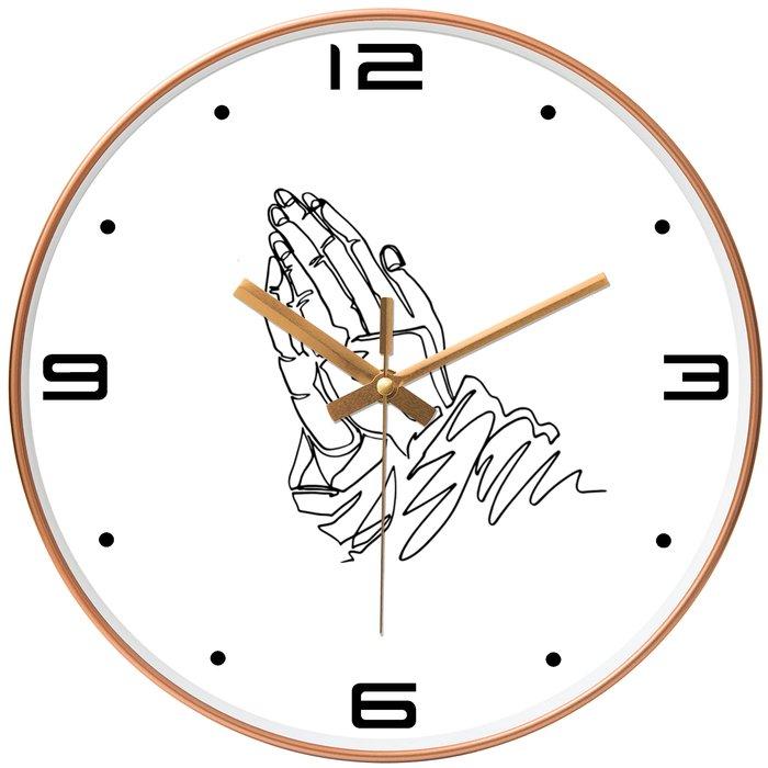 基督教禮品 圓型玫瑰金 /黑色(外框)  (禱告手) 時鐘  基督教 教會