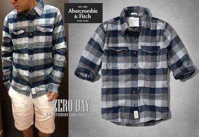 零時差A&F Abercrombie&Fitch Allen Brook Flannel Shirt毛料格紋厚襯衫-藍灰