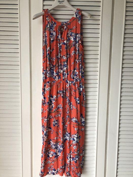 OASIS 橘色熱帶印花無袖洋裝