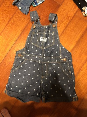 轉賣近全新oshkosh 水玉點點牛仔吊帶短褲 2T (下方無開襠) carter's UNIQLO 男寶女寶皆可