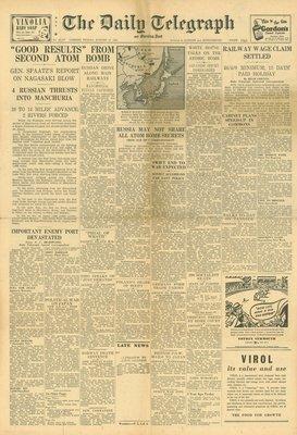 (徐宗懋圖文館) 二戰1945年8月10日 美國報紙《The Daily Telegraph》原件