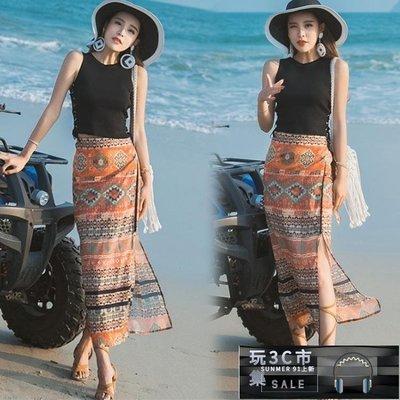 民族風長裙 波西米亞沙灘裙民族風復古半長裙一片式高腰開叉泰國花半身裙子【玩3C市集】