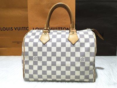二手旗艦 LV N41534 白色 棋盤格紋 Speedy 25公分 波士頓包(公益店)23801