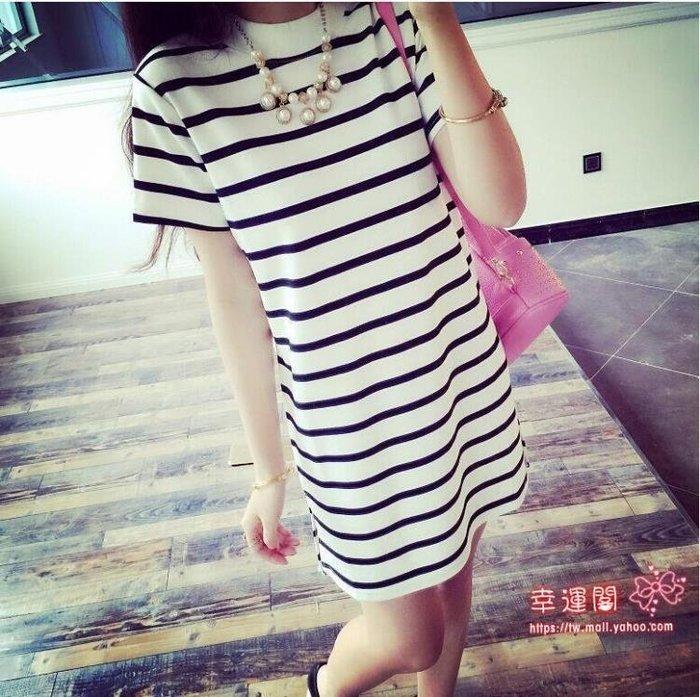 洋裝連身裙韓版開叉黑條紋女裝短袖中長款裙子條紋女生寬鬆套頭