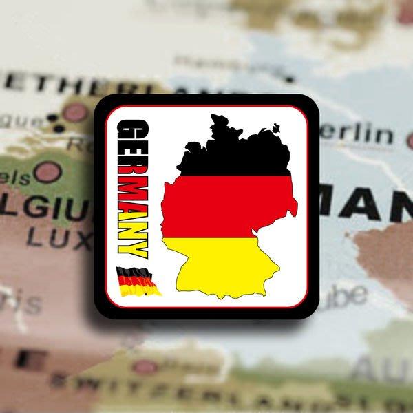 【國旗貼紙專賣店】德國旗領土防水、抗UV行李箱貼紙/多尺寸、各國都可客製/Germany