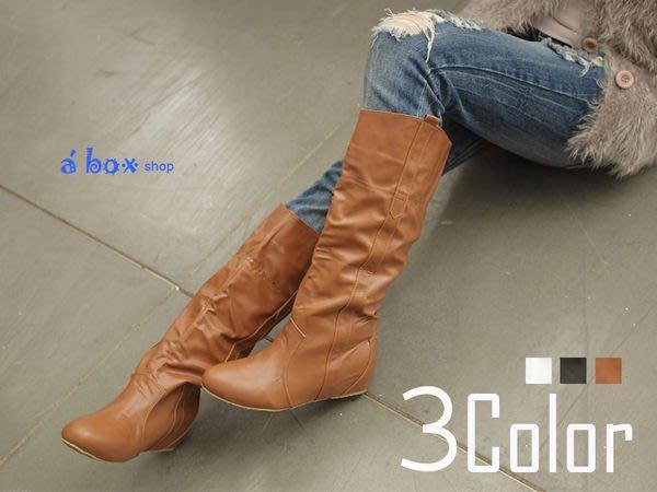格子舖*【KH998-1】零碼36 日韓潮流  素面 透氣隱形增高4cm平底長靴 機車靴