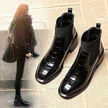 inKorea正韓女鞋代購 網紅chic馬丁靴女2020秋冬新款英倫風粗跟短靴漆皮踝靴ins女靴冬