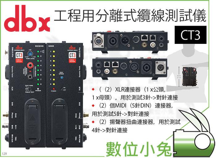 數位小兔【dbx CT3 工程用分離式纜線測試儀】訊號 導播 混音 XLR TRS DIN 數據線 測試 檢測