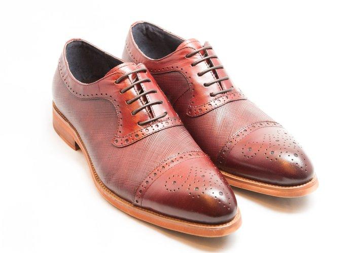 雕花拼接牛津鞋:手工上色小牛皮真皮木跟皮鞋男鞋-酒紅色-免運費-[LMdH直營線上商店]E1A25-79