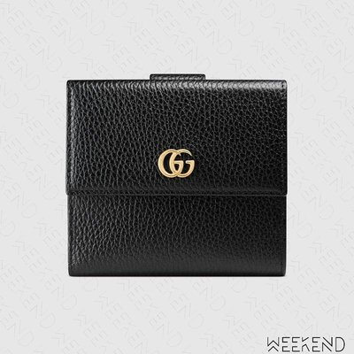 【WEEKEND】 GUCCI Leather GG French Flap 皮革 皮夾 短夾 卡夾 黑色 456122