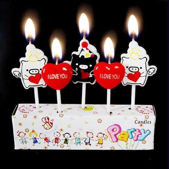 蠟燭 生日蠟燭 蛋糕蠟燭 可愛蠟燭 兒童(愛心豬款) 糖果蠟燭 生日蠟燭 求婚 告白 情人節【P11000414】