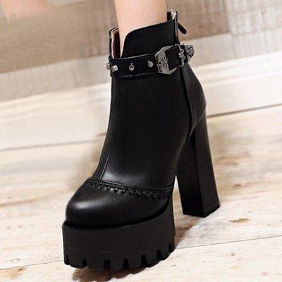 AS0159 34-39碼 韓系 鉚釘 皮帶扣 女靴 短靴 馬靴 靴子 短筒 踝靴 大碼 女鞋 大尺碼女鞋