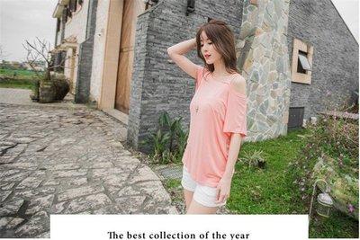 簡約露肩連袖寬鬆T恤(粉色) J-12540