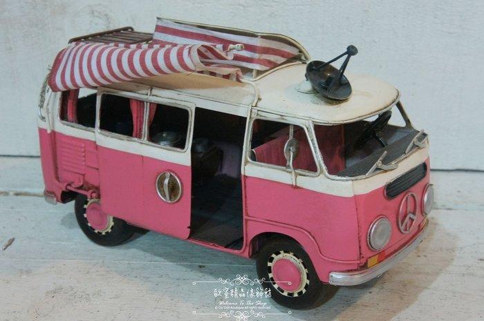 ~*歐室精品傢飾館*~ 復古風格~ 褔斯T1 露營 胖卡 嘟嘟車 麵包車 休旅車 模型 擺飾(粉紅)~新款上市~