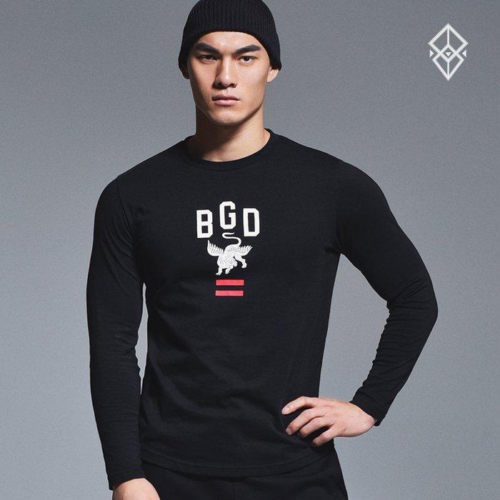 【OTOKO Men's Boutique】固制:有種部隊休閒運動印花長T/黑色
