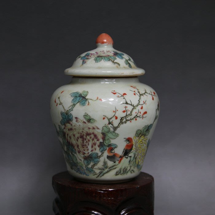 清同治粉彩花鳥圖茶葉罐 將軍罐 做舊仿古瓷 老貨古瓷器收藏古玩