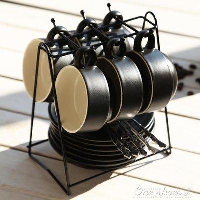 ZIHOPE 歐式下午茶陶瓷家用咖啡杯帶碟勺杯架禮盒套裝簡約骨瓷馬克水杯子ZI812