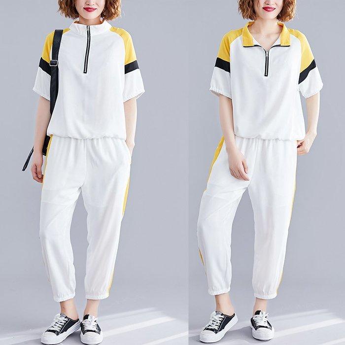 夏季新款寬鬆文藝休閑拼接撞色減齡洋氣上衣+九分褲套裝兩件套女