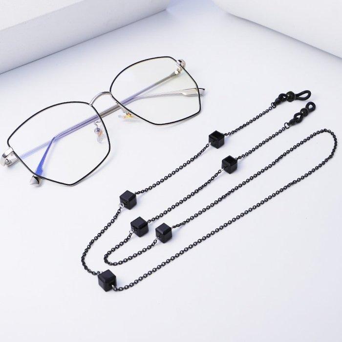 爆款熱賣-網紅復古水晶方塊老花墨鏡眼鏡鏈掛繩掛脖防滑簡約洛麗塔個性時尚