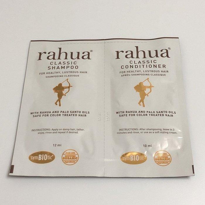 【化妝檯】 Rahua 神奇核果綻亮洗髮乳12ml + 潤髮乳 10ml  試用包 效期2020/04 台灣專櫃 中文標