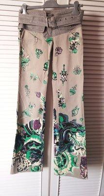全新原價$42800 Just cavalli 燙金印花玫瑰骷髏虎頭灰色牛仔褲小喇叭褲