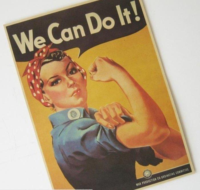 【貼貼屋】經典二戰標語 We can do it! 懷舊復古 牛皮紙海報 壁貼 店面裝飾 經典電影海報 509