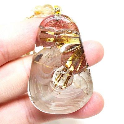 【收藏家】頂級天然鈦晶墜子 鈦晶龍牌吊墜 如意龍雕刻款 88g