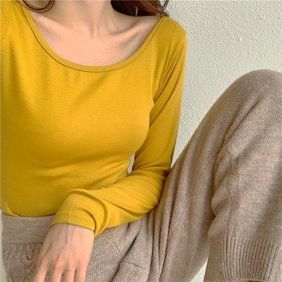 純棉u領打底衫女2020春季新款長袖T恤女磨毛加厚秋衣低領緊身上衣