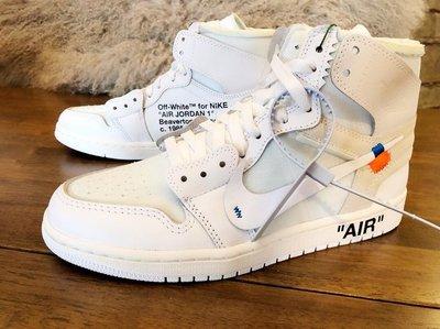 【H-Sneaker】全新 NIKE AIR JORDAN 1 X OFF-WHITE 白 男鞋 AQ0818-100
