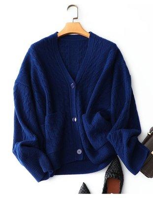 米蘭時尚風情 新品特限量歐美加厚CASHMERE純山羊絨簡約文藝復古寬鬆大碼落肩V領長袖雙口袋加厚純羊絨針織外套